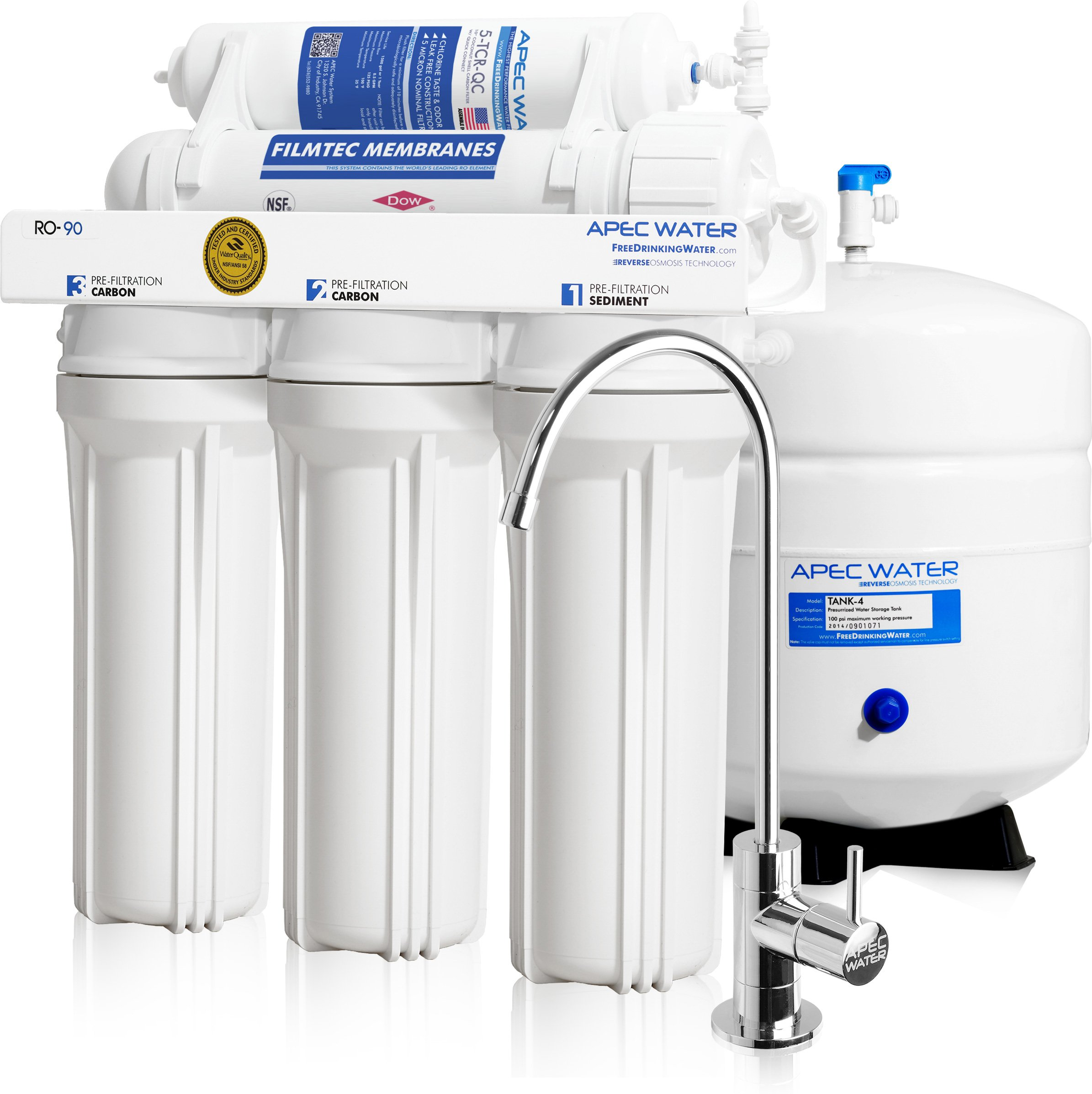 APEC Top Tier Supreme Certified High Flow 90 GPD Ultra Safe Reverse Osmosis Drinking Water Filter System (ULTIMATE RO-90) by APEC Water Systems