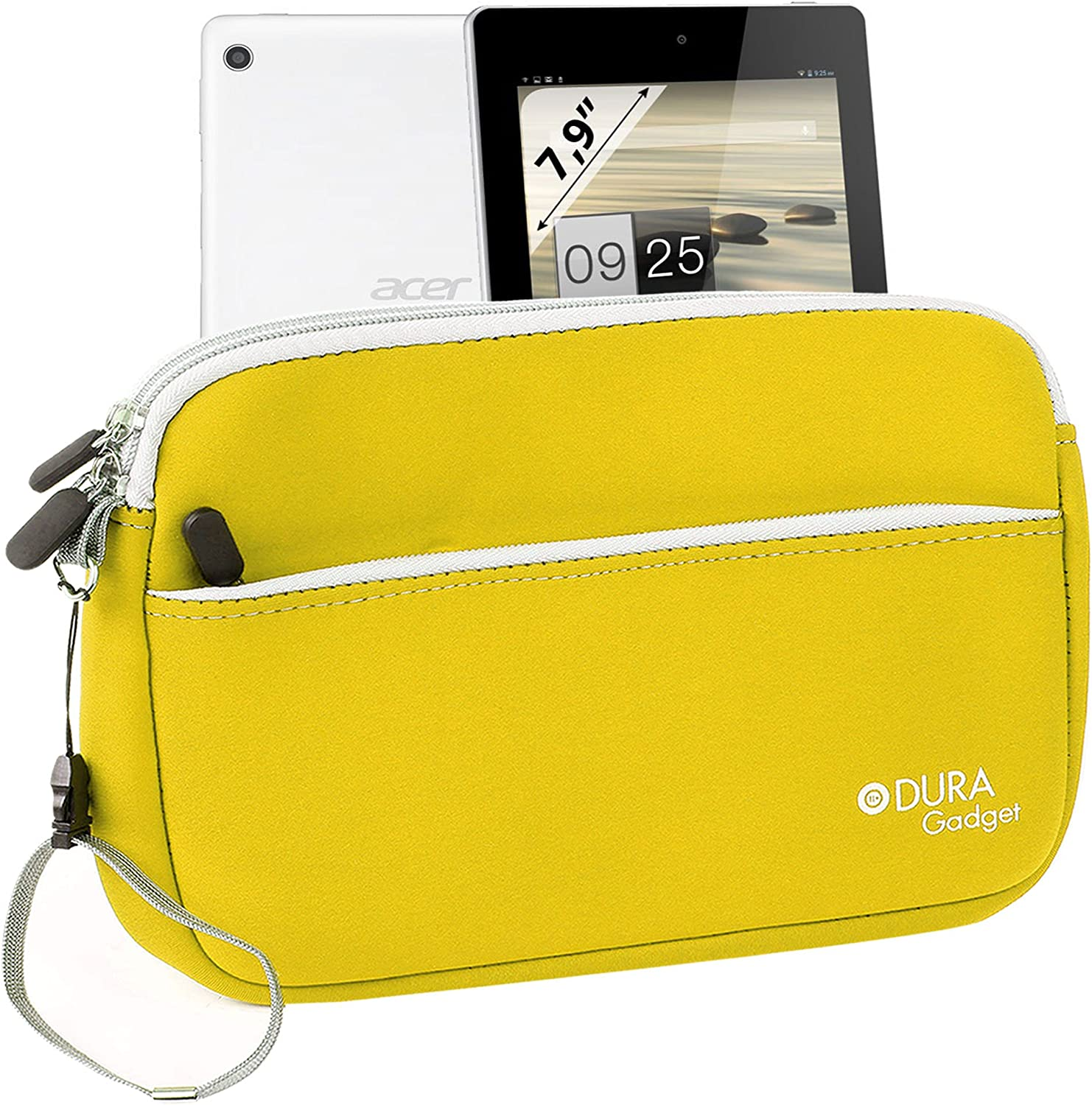 DURAGADGET Lemon Yellow 'Travel' Neoprene Case with Zipped Front Storage Compartment - Compatible with Acer Iconia A1-810-L416 7.9-Inch 16 GB Tablet