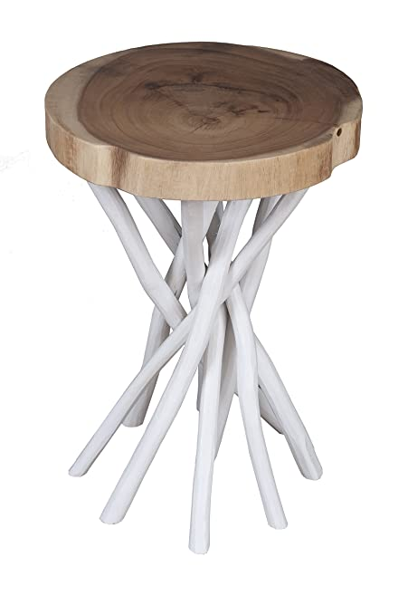 East At Main Kenton Teakwood White Round Accent Table, (14x14x20)