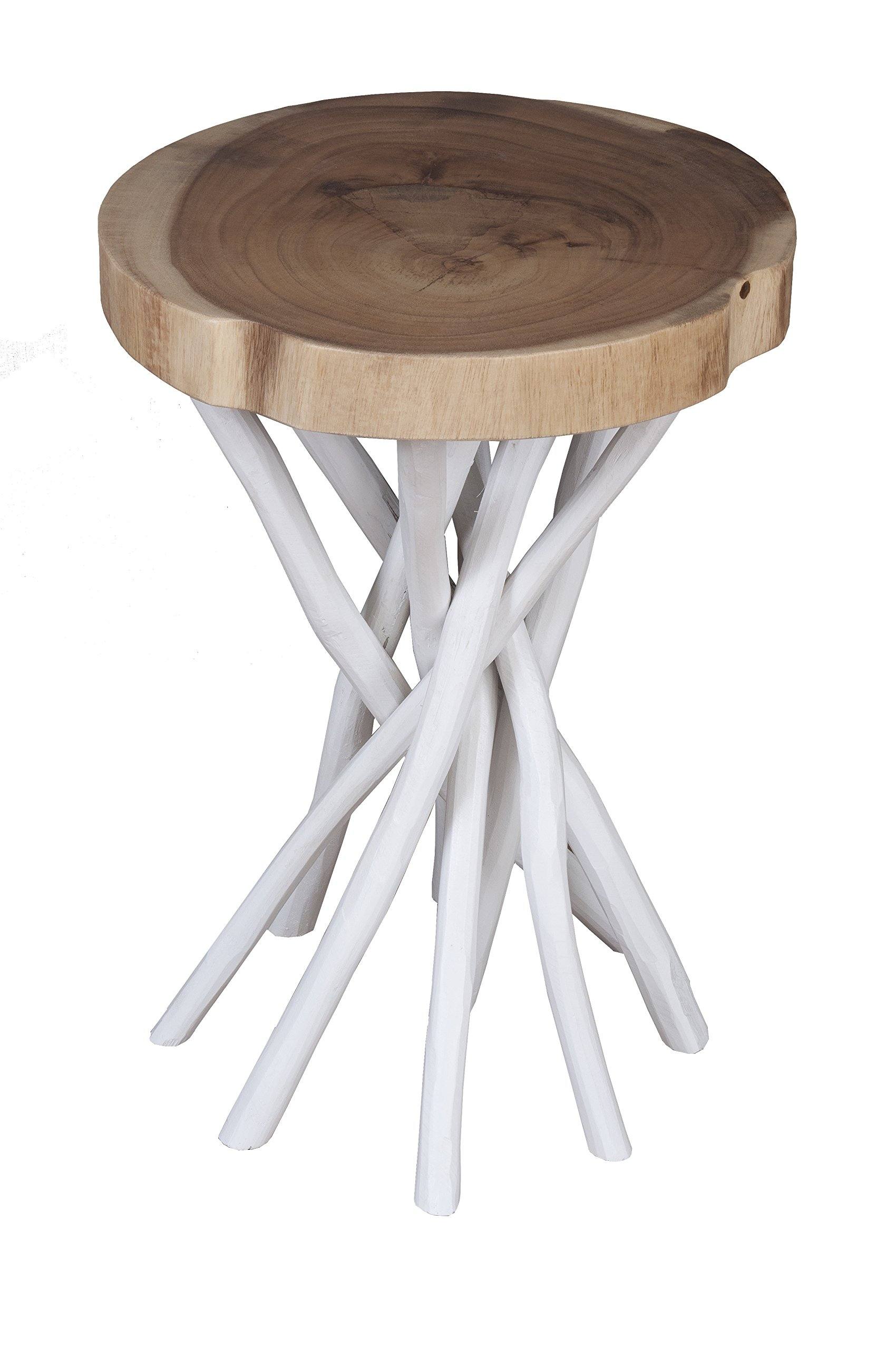 East at Main Kenton Teakwood White Round Accent Table, (14x14x20) by East At Main (Image #1)