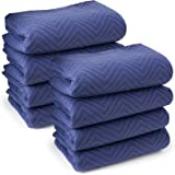 "Sure-Max 8 Moving & Packing Blankets - Deluxe Pro - 80"" x 72"" (40 lb/dz weight) - Professional Quilted Shipping Furniture Pads Royal Blue"
