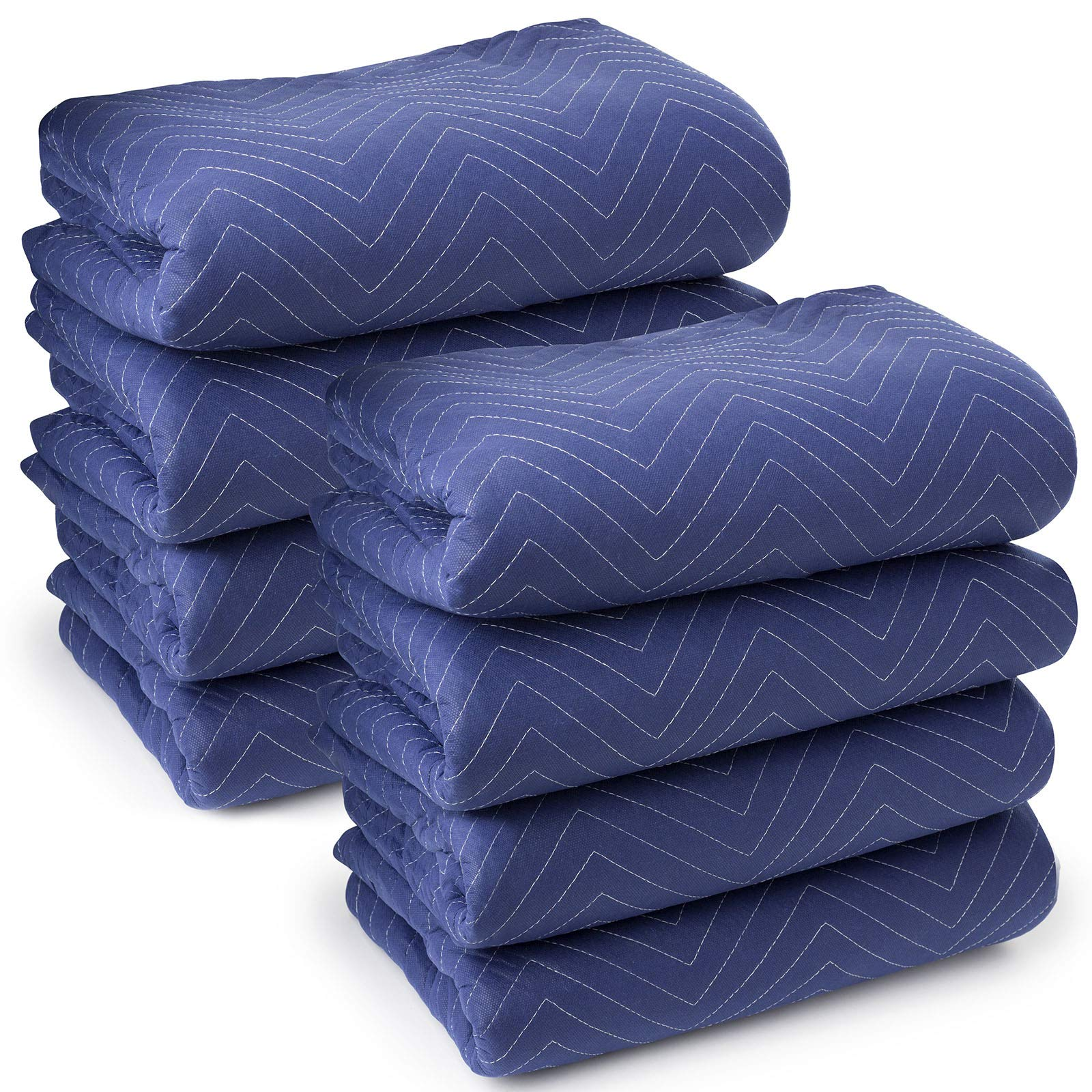 Sure-Max 8 Moving & Packing Blankets - Deluxe Pro - 80'' x 72'' (40 lb/dz weight) - Professional Quilted Shipping Furniture Pads Royal Blue