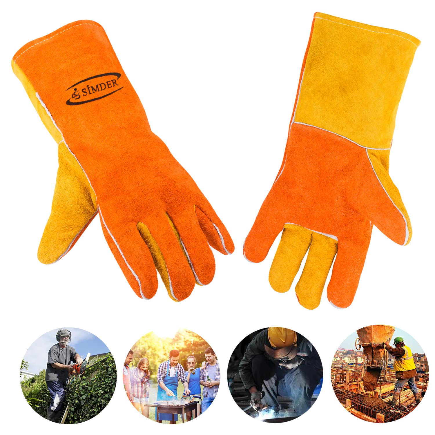 Welding Gloves Heat Resistant Gloves with Kevlar Stitching Leather Work Gloves for Welding Garden BBQ Grill Oven Cooking fireplace gloves fireproof snake bite gloves 14 inches Long