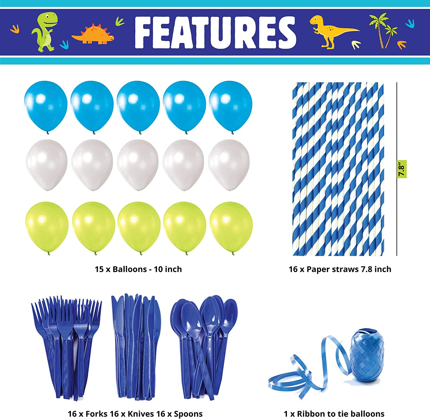 All-in-One Complete Dinosaur Birthday Party Supplies with with Birthday Plates and Dinosaur Party Decorations and Dinosaur Decor for Boys Utensils Cups Napkins Whoobli Dinosaur Party Supplies