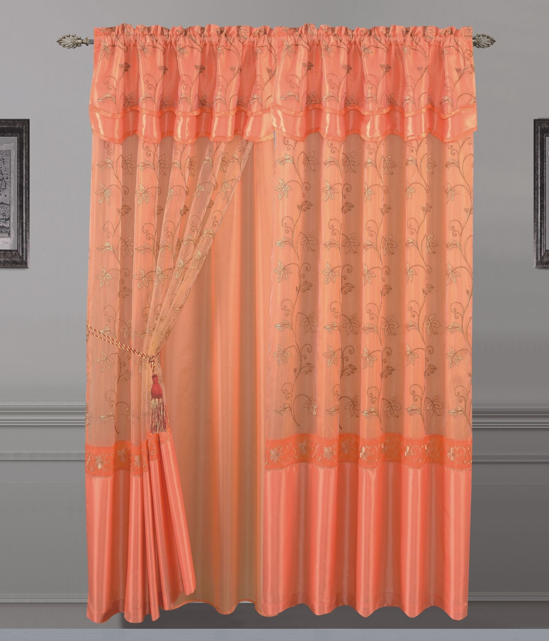 All American Collection New 2 Panel Elegant Embroidered Curtain with Attached Valance by All American Collection