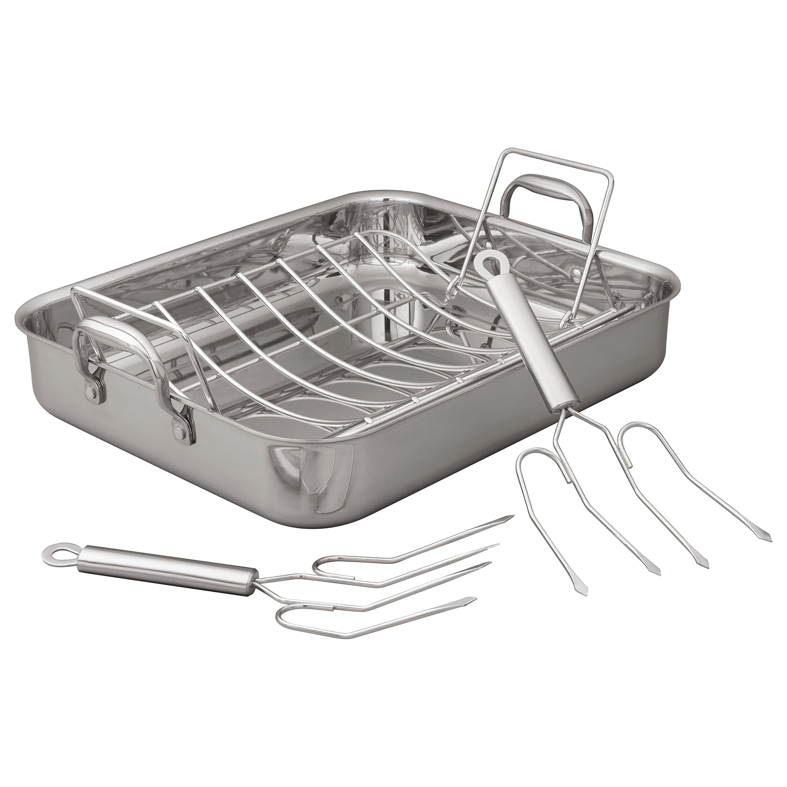 Stone & Beam Tri-Ply Stainless Steel Roasting Pan with Two Roasting Forks, 16-Inch by Stone & Beam