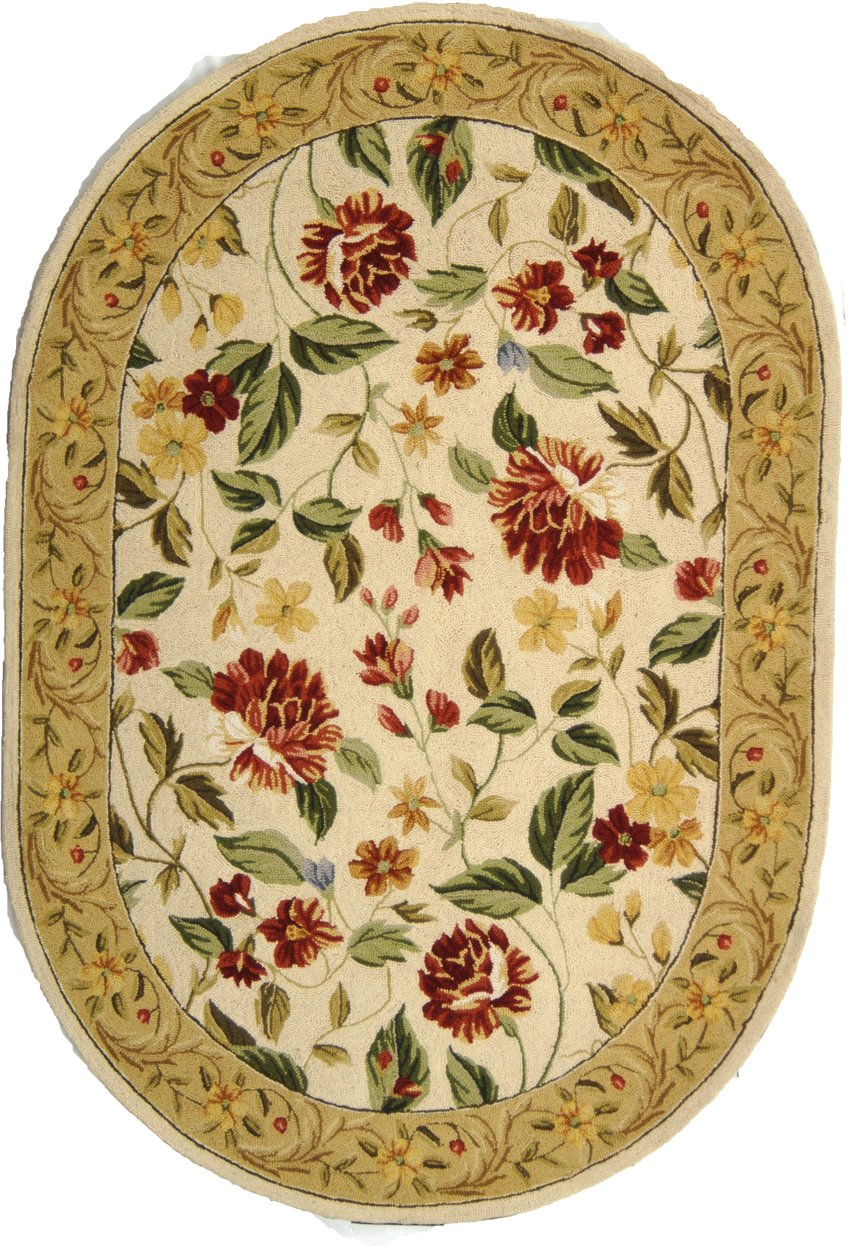 Safavieh Chelsea Collection HK117A Hand-Hooked Ivory and Beige Premium Wool Oval Area Rug 4 6 x 6 6 Oval