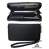 Womens RFID Blocking Wallet Classic Clutch Synthetic Leather Long Wallet Card Holder Purse Handbag