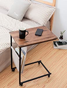 HAWOO Side Sofa,C Shaped End Table, Mobile Snack Table for Coffee Laptop Table, Wood Accent Table with Metal Frame,28''H