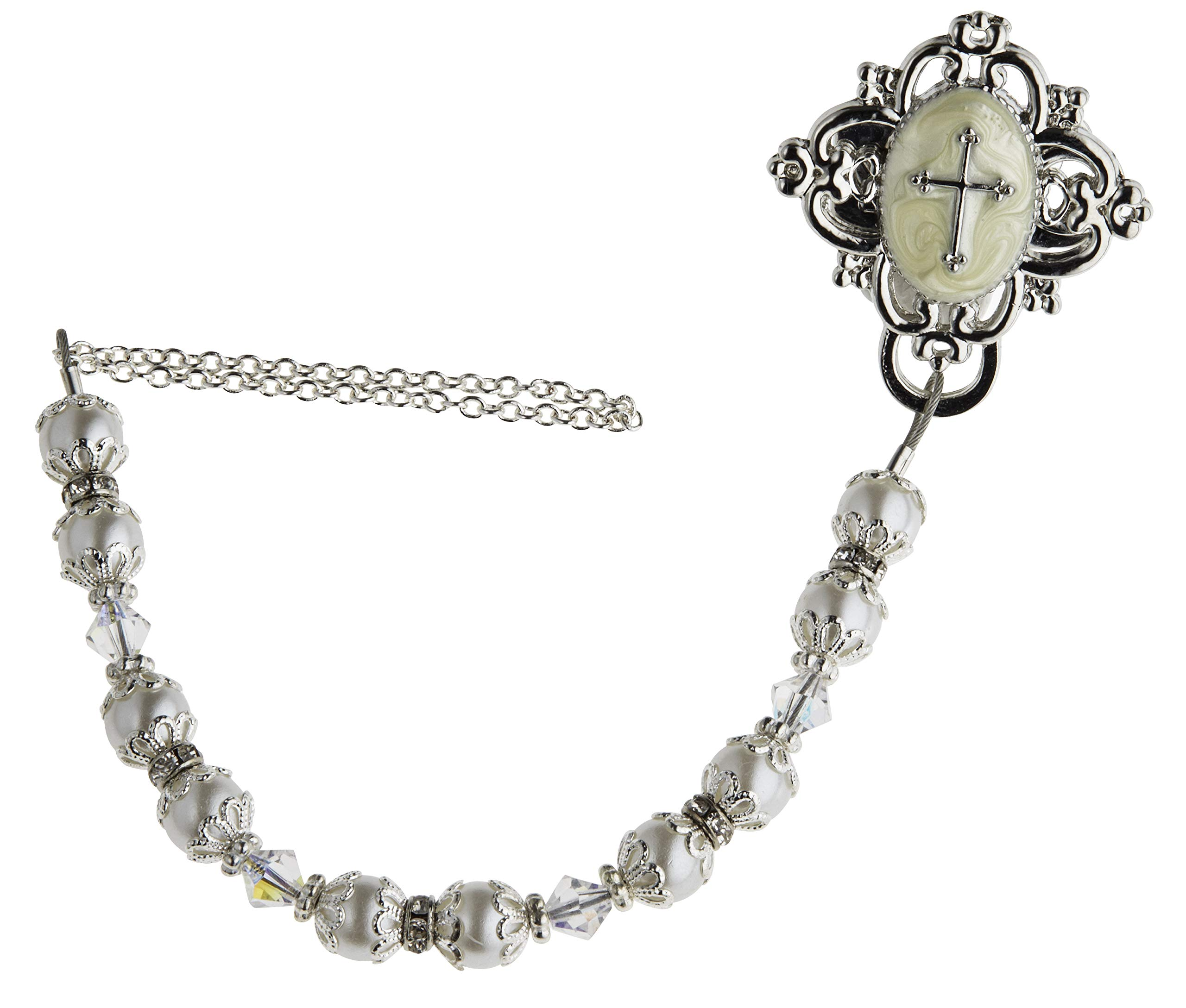 Baptism White Swarovski Simulated Pearls Clear Crystals Rhodium Plated Silver Hand Enamelled Baby Christening Gift Pacifier Clip (CCRS) by Tooter