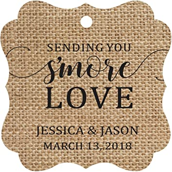 Darling Souvenir Custom Hang Tags Sending You SMore Love Favor Gift Tags Personalized Fancy Bonbonniere Tag-Burlap-100 Tags