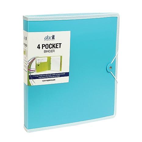 DocIt 4 bolsillo cartón, azul (00939-bl)