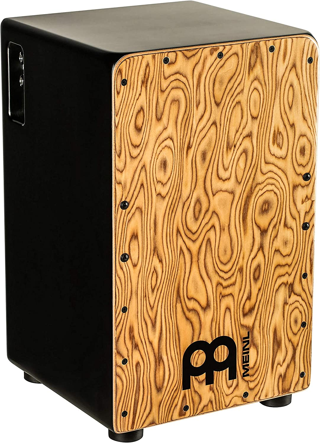 Meinl Pickup Cajon Box Drum with Internal Strings for Snare Effect - NOT MADE IN CHINA - Makah Burl Frontplate / Baltic Birch Body, Woodcraft Professional, 2-YEAR WARRANTY (PWCP100MB)