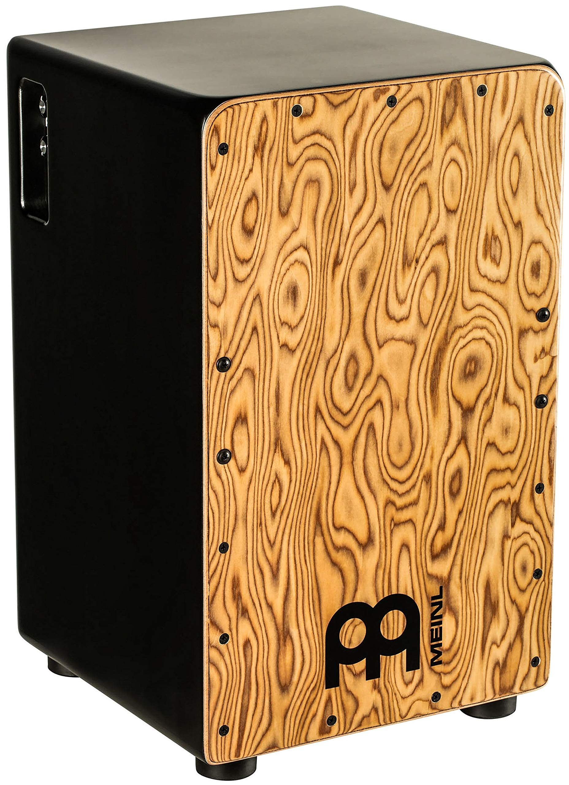 Meinl Pickup Cajon Box Drum with Internal Strings for Snare Effect - NOT MADE IN CHINA - Makah Burl Frontplate / Baltic Birch Body, Woodcraft Professional, 2-YEAR WARRANTY (PWCP100MB) by Meinl Percussion