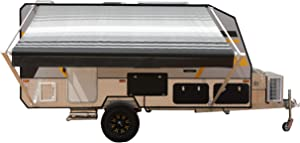 ALEKO Manual Retractable RV Trailer Awning for Home or Camper- 13x8 Ft - Black Stripes