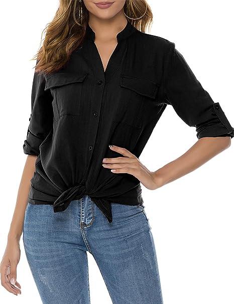 Amazon.com: UUANG - Camisas con botones y cuello en V para ...