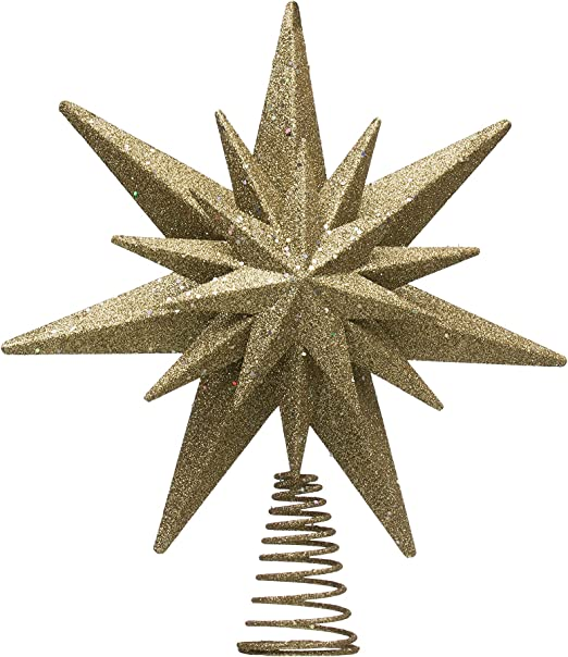 Creative Co-Op XM0395 Antique Gold Metal Star Tree Topper with Glitter