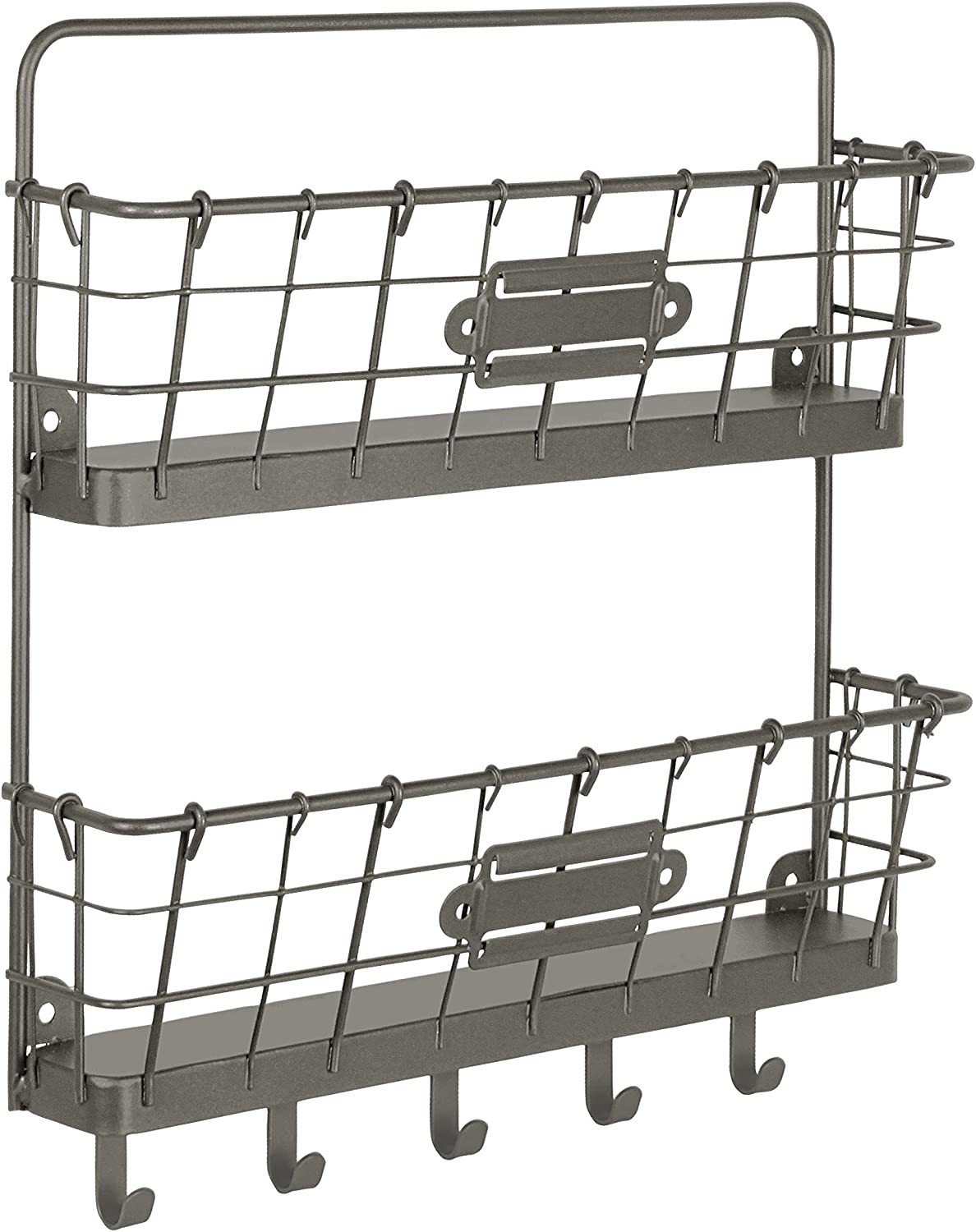 Spectrum Diversified Vintage 2-Tier Organizer & Key Rack Farmhouse Entryway Mailbox with Hooks, Rustic-Style Wall-Mounted Mail Center & Key Holder, One, Industrial Gray