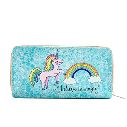 DonDon mujeres monedero Cartera de bolsillo portamonedas billetero con motivo de unicornio Believe in Magic