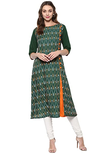Janasya Women's Green Embellished Crepe A-Line Kurti Kurtas at amazon