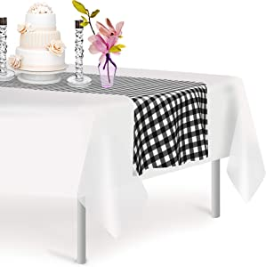Black Checkered 12 Pack Gingham Premium Disposable Plastic Checkered Racing Flag Table Runner 14 x 108 Inch. Decorative Table Runner for Dinner Parties & Events, Decor By Grandipity