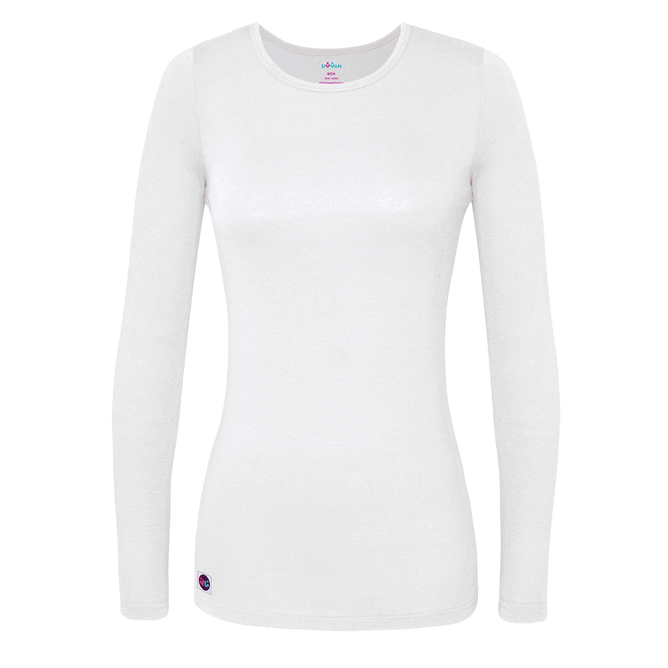 Sivvan Women's Comfort Long Sleeve T-Shirt/Underscrub Tee - S8500 - White - S by Sivvan