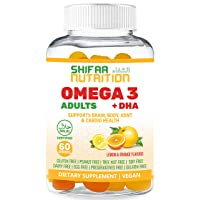 Vegan DHA & Omega 3 Gummy Vitamins for Women & Men, No Omega 3 Fish Oil Burps, Plant Based - Chia Oil & Algae, Brain Supplement, Immune Support Gummies, Omega 3 6 9 Halal Vitamins 20 Servings