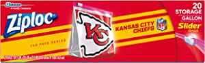 Ziploc Slider Storage Gallon Bag, Great for Grab-and-go Snacking, Tailgating or homegating, 20 Count- NFL Kansas City Chiefs