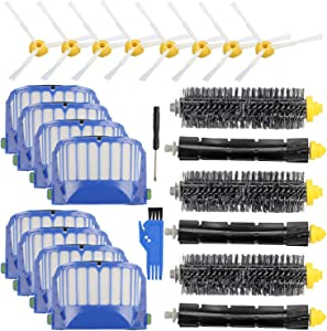 Replacement Parts Accessory for iRobot Roomba 600 500 Series 695 690 680 660 651 650 630 620 614 610 595 585 564 552 Vacuum Cleaner Replenishment Kit, 8 Filter 8 Side Brush 3 Bristle & 3 Beater Brush