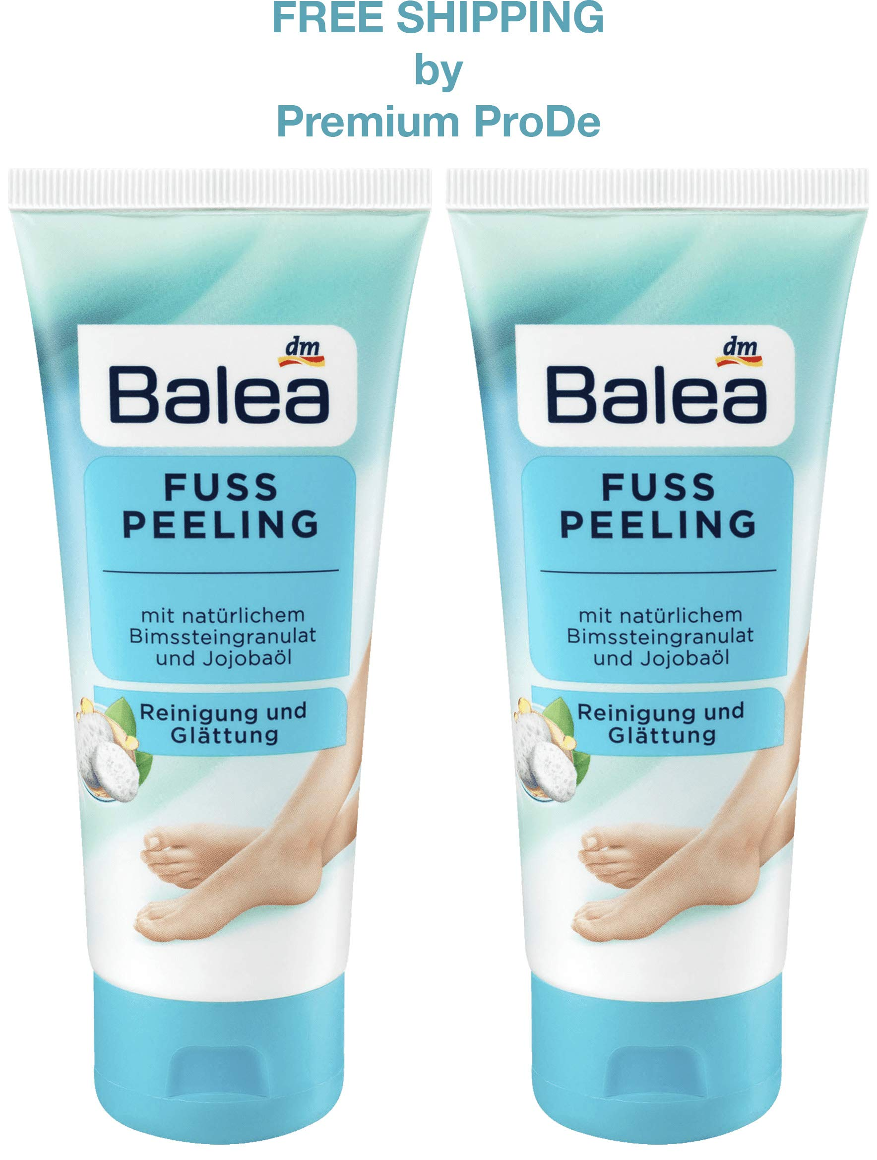 Balea Foot Scrub with Jojoba Oil, Natural Pumice Stone Granules, Horse Chestnut Extract, Urea and Vitamin E, 2 x 100 ml, Germany by Balea