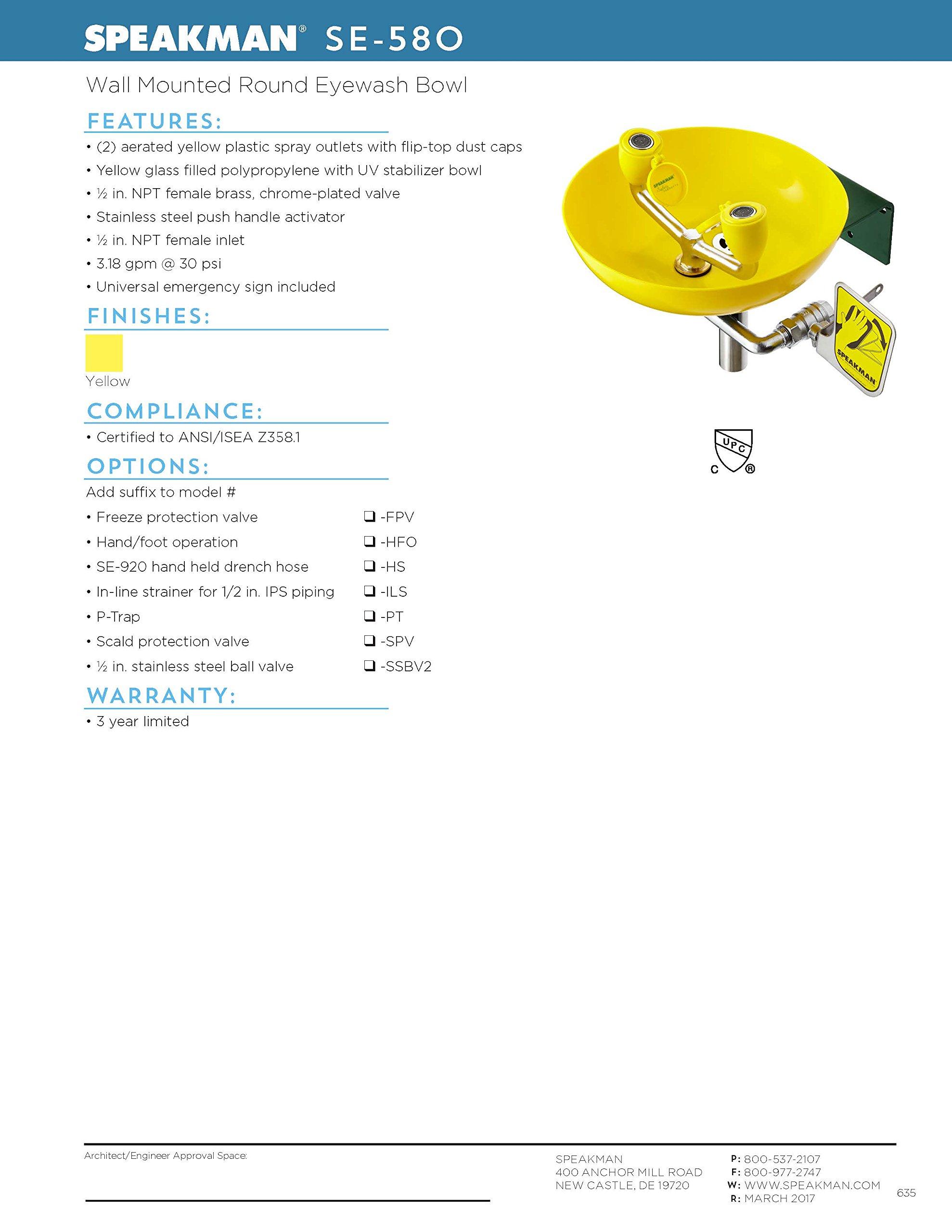Speakman Traditional Series SE-580 Wall Mounted Eyewash with Plastic Bowl by Speakman (Image #6)