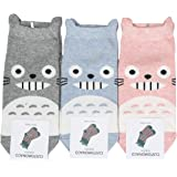 Women Totoro Cartoon No Show Socks, 3-Pairs (Pink, Gray, Blue) One Size