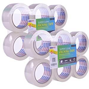 ADHES Shipping Tape Packaging Tape Packing Tape for Moving Boxes Heavy Duty Clear, 55M Per Roll 1.88 Inch Width,2.7Mil(12Rolls)