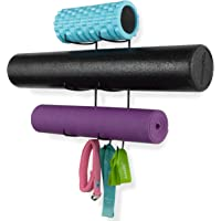 Wallniture Guru Wall Mount Yoga Mat Foam Roller and Towel Rack with 3 Hooks for Hanging Yoga Strap and Resistance Bands…