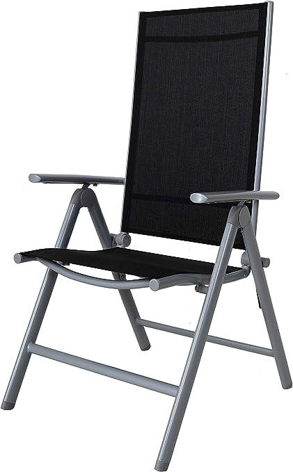 Chicreat - Silla de camping plegable de aluminio con respaldo alto (negro y plateado)