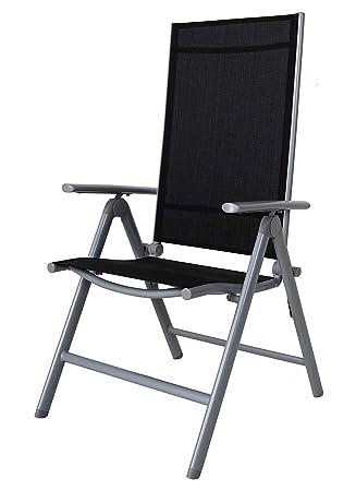 Chicreat silla de camping plegable de aluminio, silla highback, plateado / negro