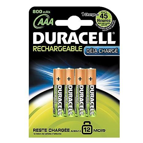 Duracell Duralock - pilas recargables AAAX4 - quédese cargado 12 meses (800 mAh, NiMh, 1.2 V)