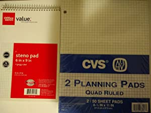 Office Depot Steno Book 6in. x 9in 15.2cm22.9cm Gregg Ruled 70 Sheets Gregg ruled #307389 - Bundle with 2 CVS Planning Pads Quad Ruled 8 1/2 in x 11in 21.6cm27.9cm 2-50 Sheets#880179(Set of 3 items)