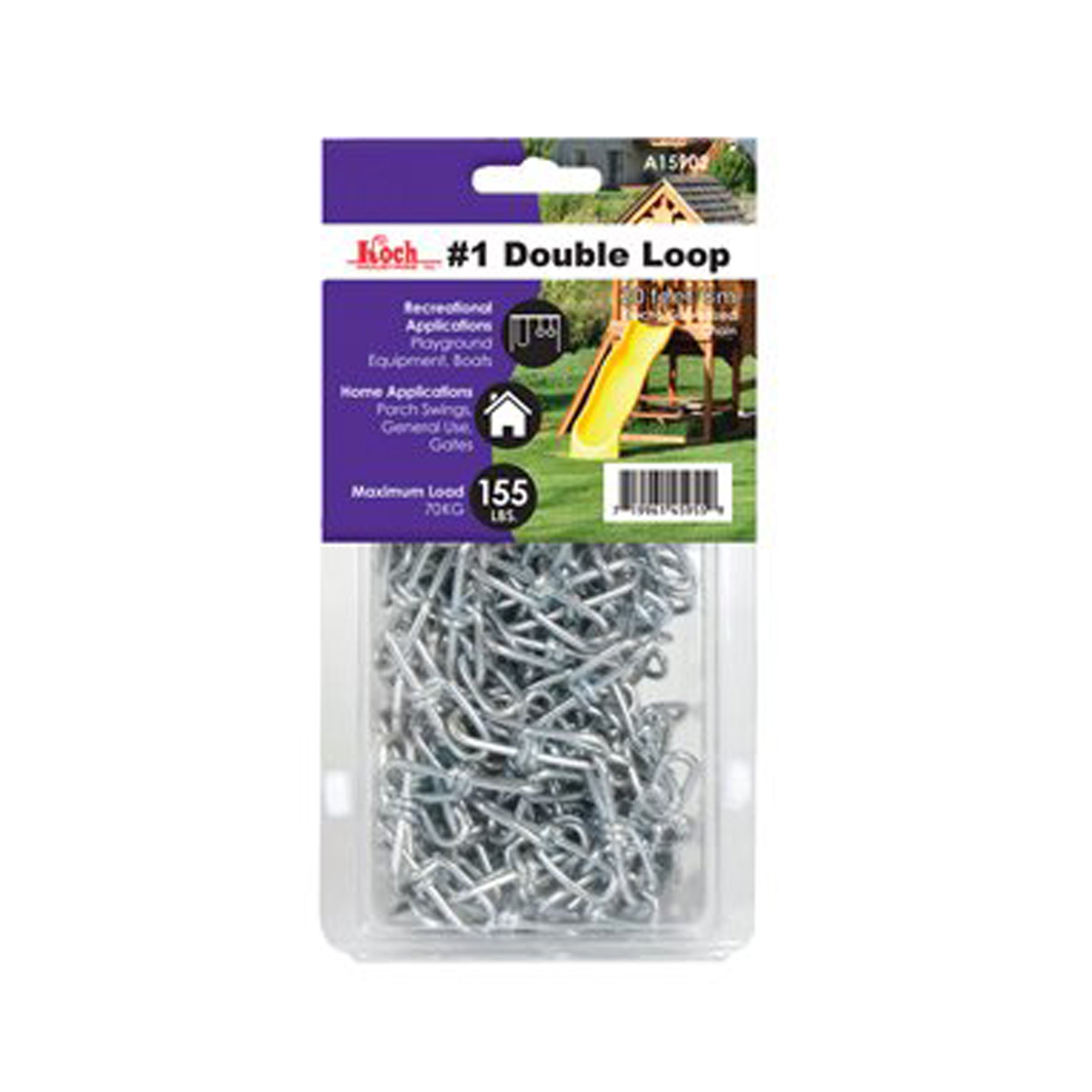 Koch A15922 Double Loop Chain, 2/0 X 20 Ft, 255 Lb, 2/0, Zinc Plated by Koch