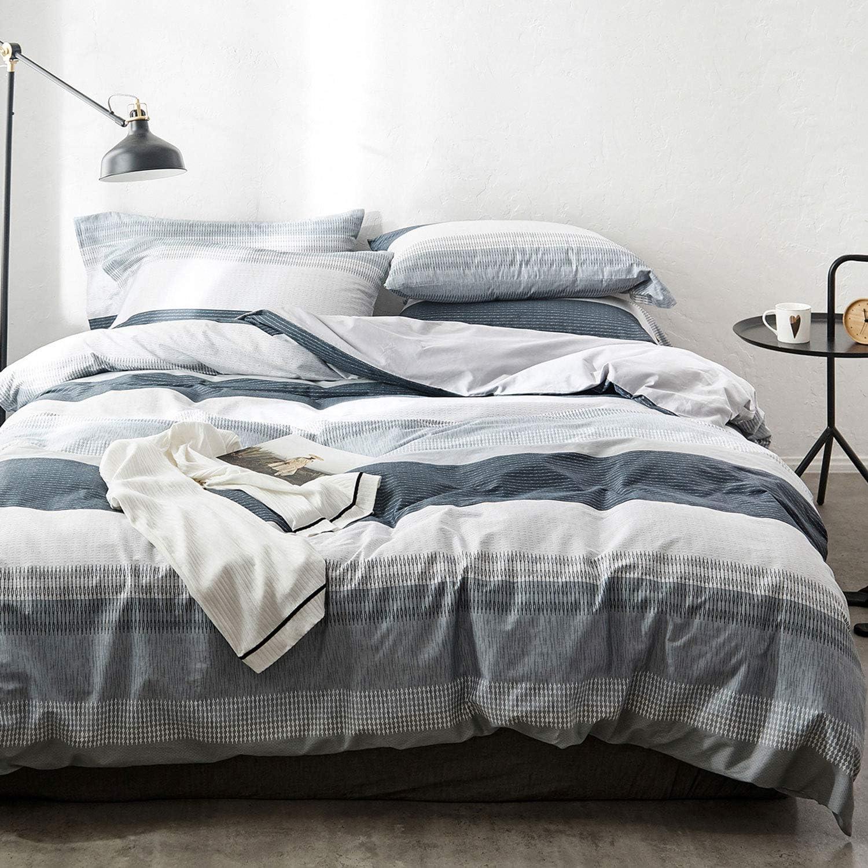oreise duvet cover set king size 100 cotton bedding set gray blue white printed striped style 3piece 1 duvet cover 2 pillowcase comfortable