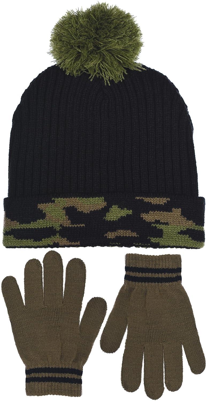 Polar Wear Boy's Digi-Camouflage Hat & Gloves Set in 2 Rugged Designs B7C1739