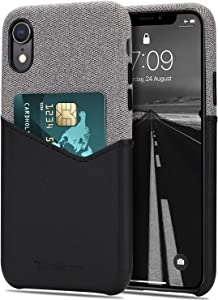 Tasikar Compatible with iPhone XR Case Card Holder Slot Wallet Case Premium Leather and Fabric Design Compatible with iPhone XR (Black)