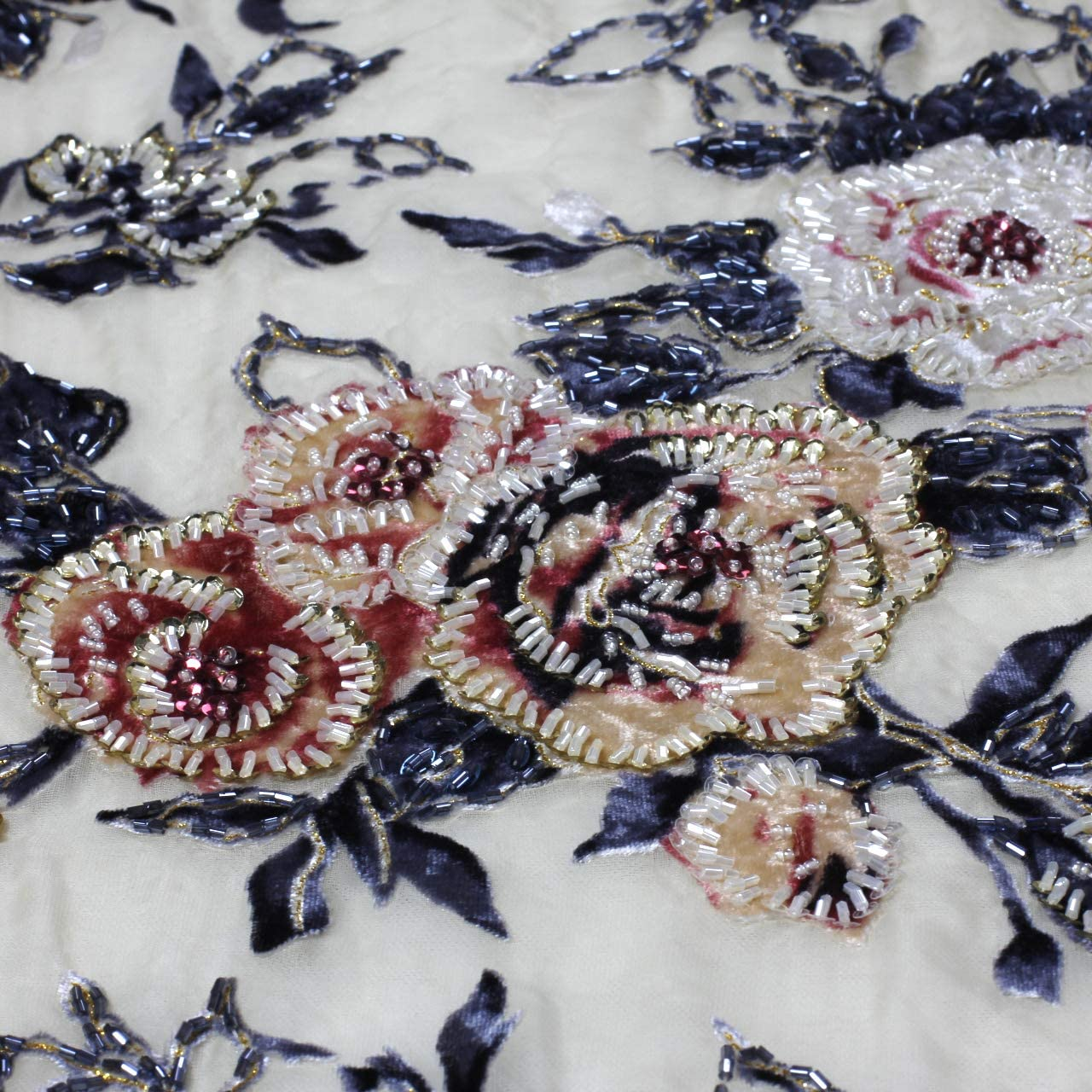 Hand Beaded Sequenced Chiffon Fabrics 45 wide sold by the Yard