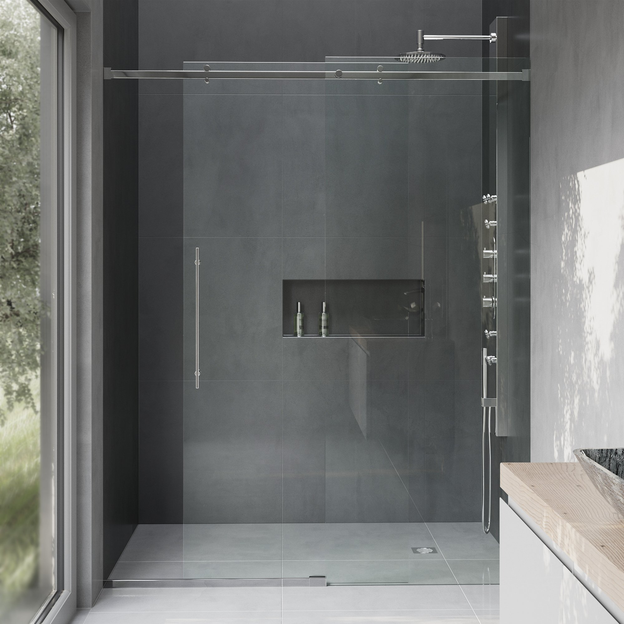VIGO Luca 56 to 60-in. Frameless Sliding Shower Door with .375-in. Clear Glass and Chrome Hardware by Vigo (Image #1)