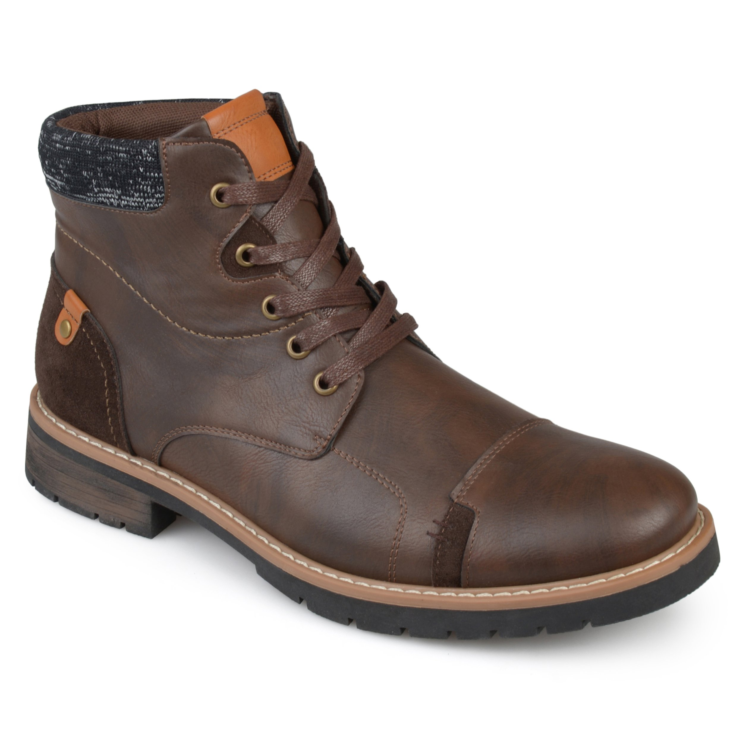 Vance Co. Mens Faux Leather Lace-up Boots Brown, 11 Regular US by Vance Co.
