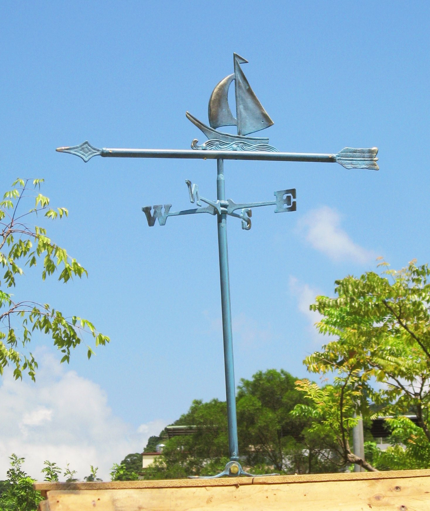 Solid Brass Sailboat Weather Vane for Roof