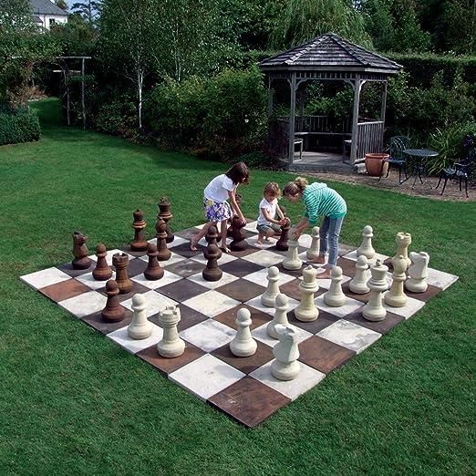 Estatuas y esculturas en línea Grandes Juegos de jardín – Juego de ajedrez de Piedra con Piezas: Amazon.es: Jardín