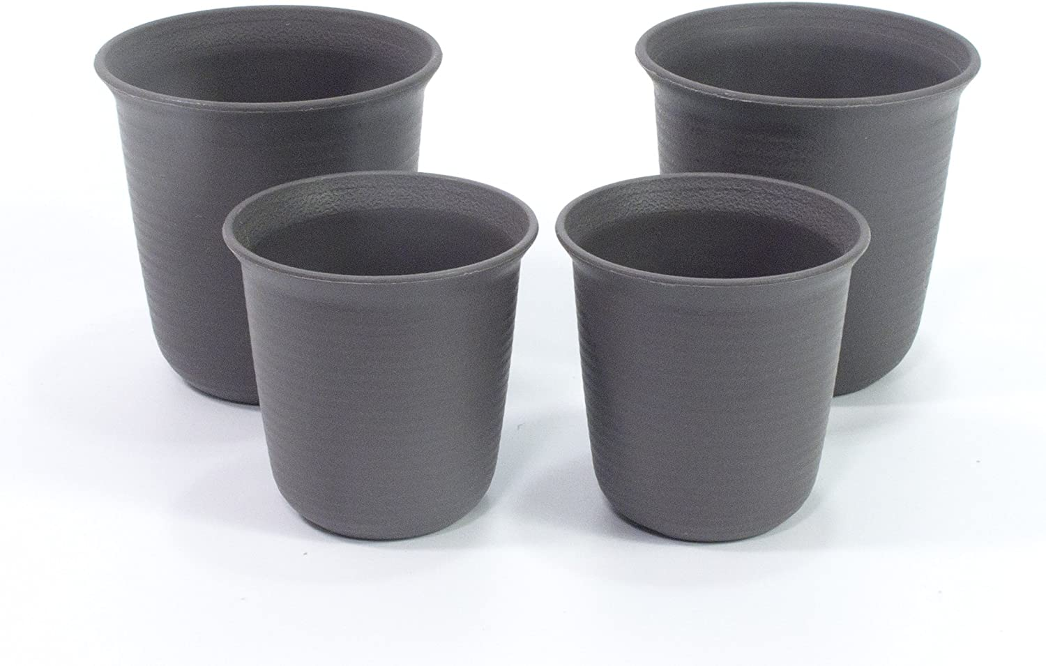 ALL in ONE Mini Plastic Plant Flower Pots for Plants Flowers Succulents Home Office Table Decoration (Mixed Size-Black)