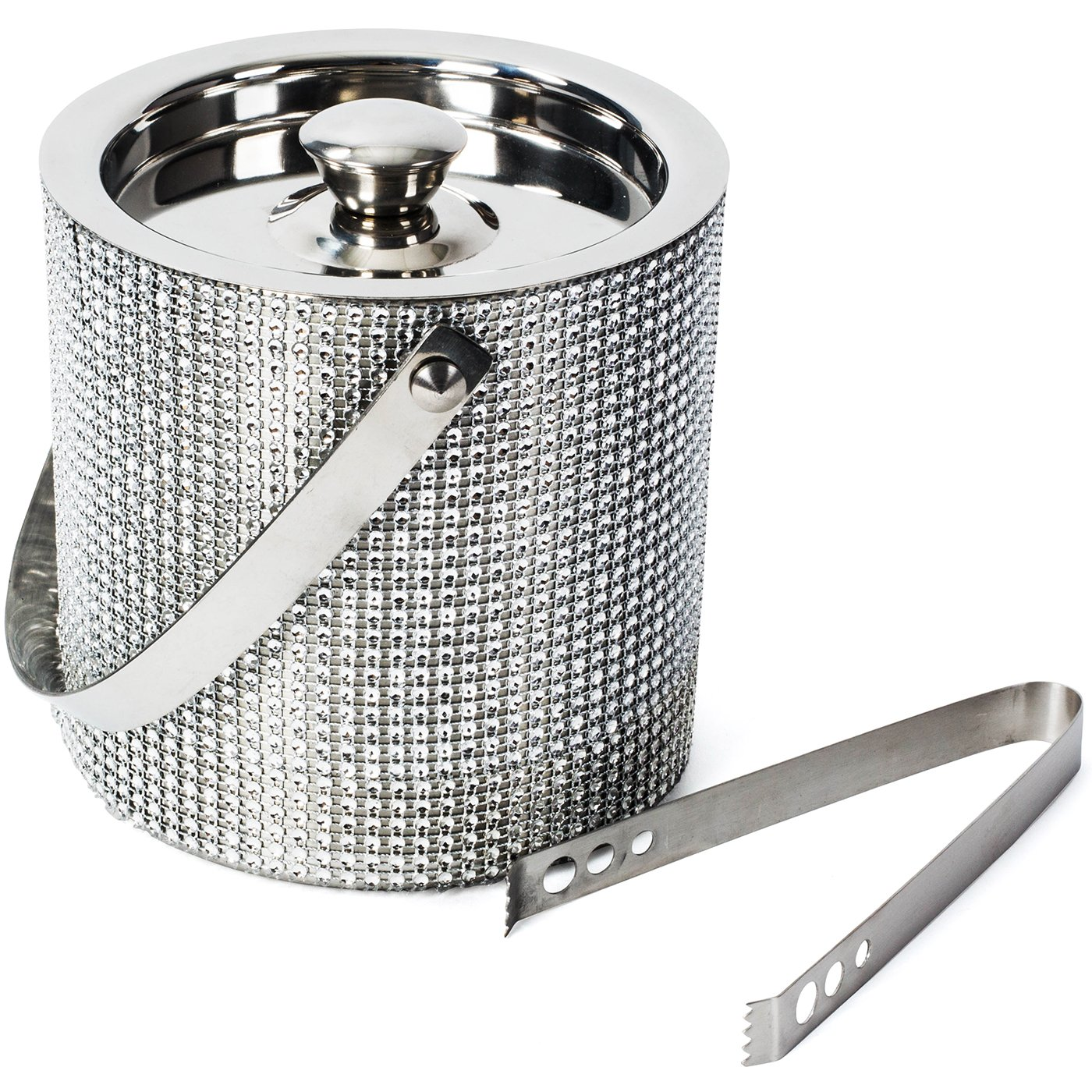 Colleta Home Ice Bucket for Parties - Insulated with Lid, Stainless Steel Double Walled with Handle for Carrying, 1.7 Liter - Ice Bucket with Tong