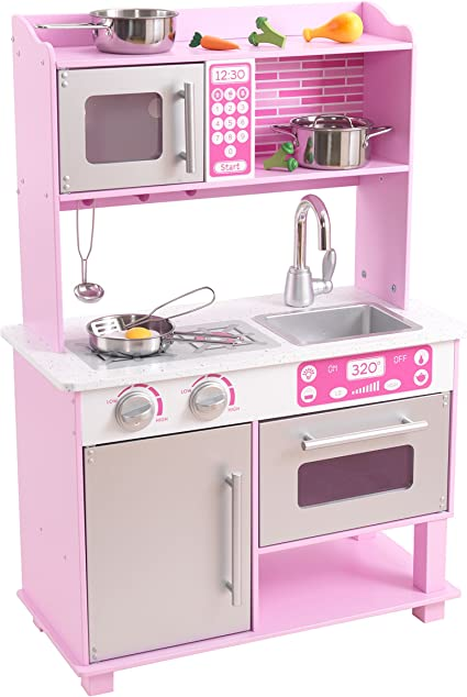 Amazon Com Kidkraft Girl S Pink Toddler Kitchen With Accessories Toys Games